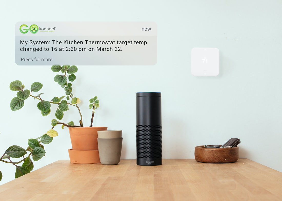 smart-thermostat-on-kitchen-wall-with-amazon-alexa-below-on-kitchen-table