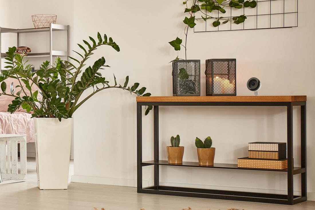 home-interior-with-indoor-camera-on-console-table