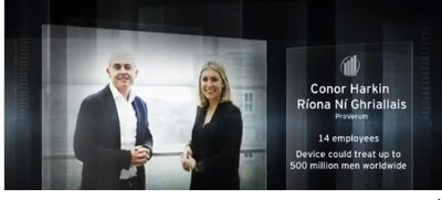 Conor Harkin and Ríona Ní Ghriallais of ProVerum Medical nominated for EY Entrepreneur of the Year Award