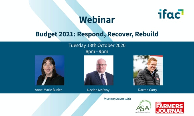 Ifac, the ASA and Irish Farmers Journal to host Budget 2021 online briefing