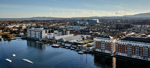 Striking views from our large Crane at Six Hanover Quay