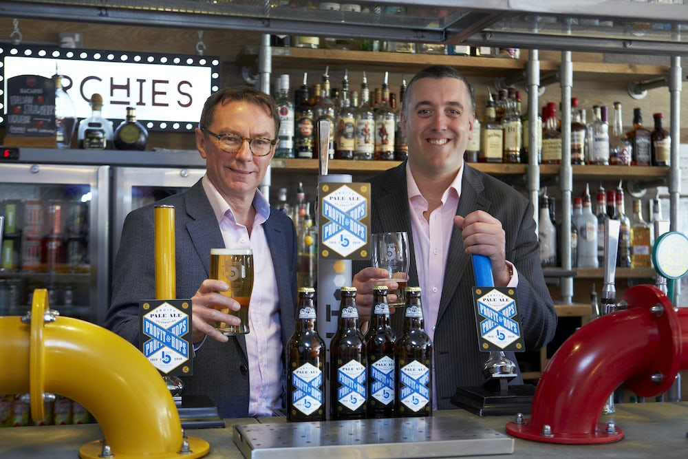 Left to right: John Brear & James White, Directors of Brown Butler, enjoying a pint of Profit & Hops