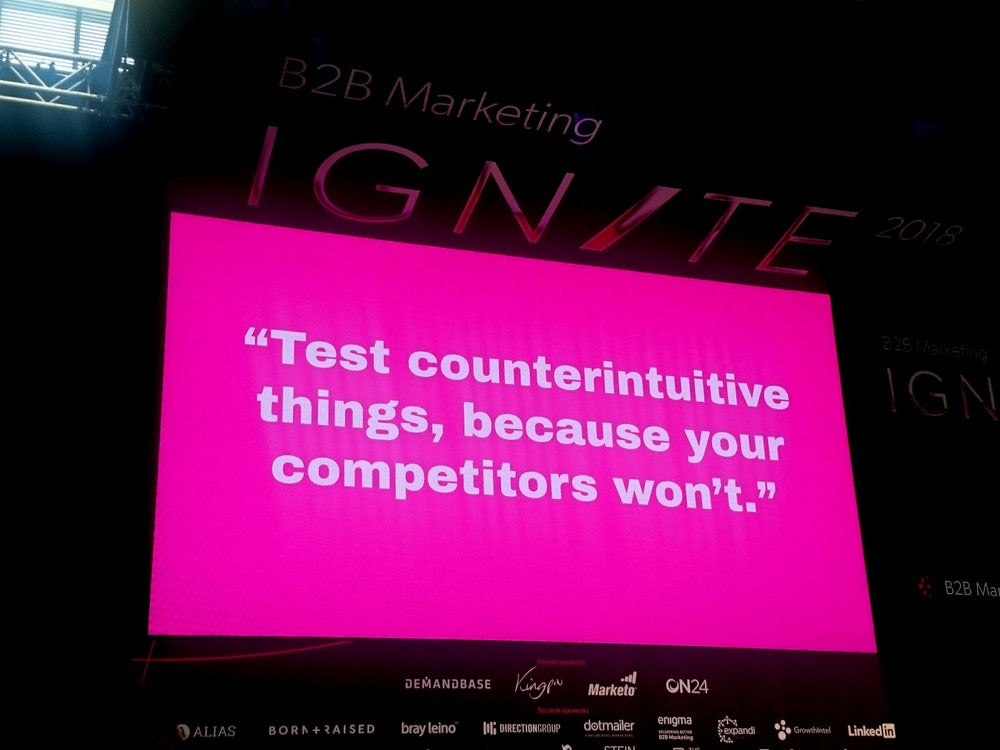 Conference on pink big screen