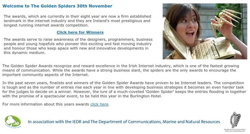 Welcome to the Golden Spiders 30th November