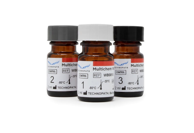 Multichem WBT vials level one, level two and level three