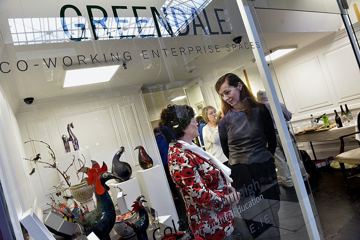 Learners exhibit in the 'Greendale Co-working space' pop up shop