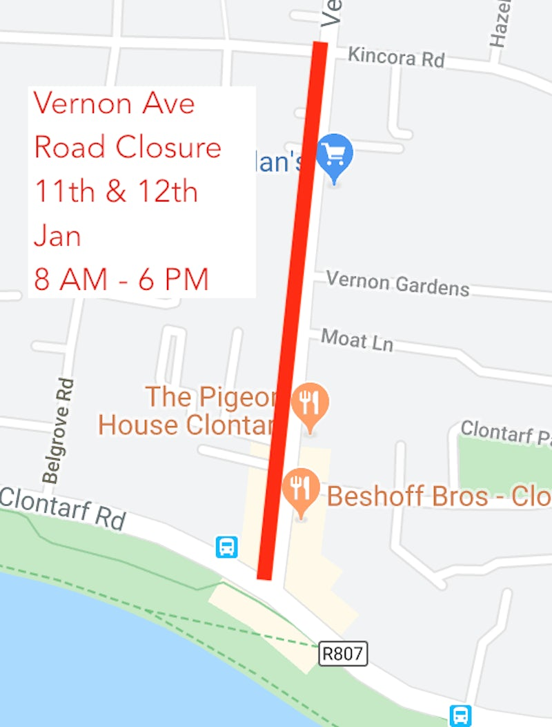 Temp Road Closures Vernon Ave | 11th & 12th January 2020